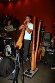 Lucas Proudfoot of Max Judo plays the didgeridoo at Cafe La Monde