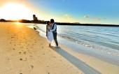 beach wedding shot