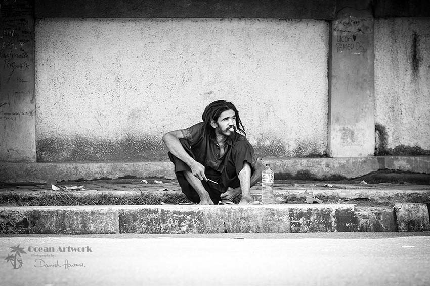 Homeless man in Padang, Sumatra