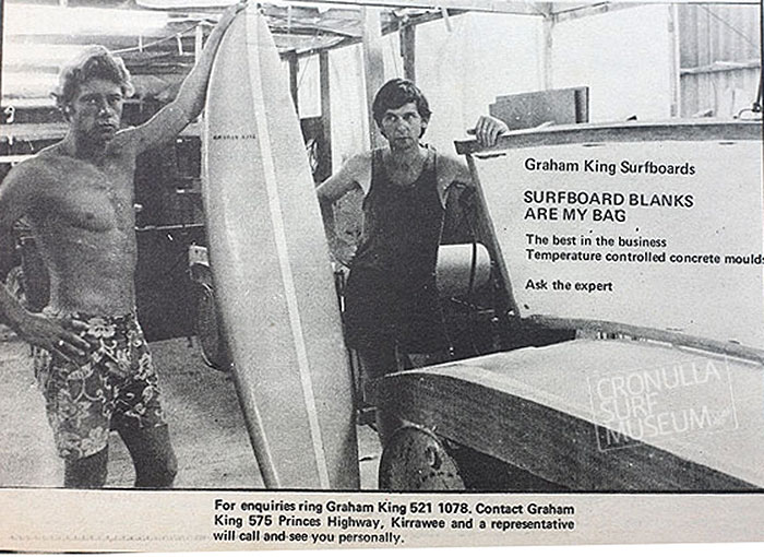 Graham on the right talking shop with another legend of Australian surfing Frank Latta